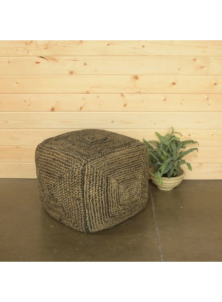 HomArt Santa Cruz Hemp Pouf - Square - Washed Stone Blue