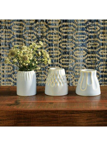 HomArt Matte Blue Margot Vase - Stripe - Set of 2