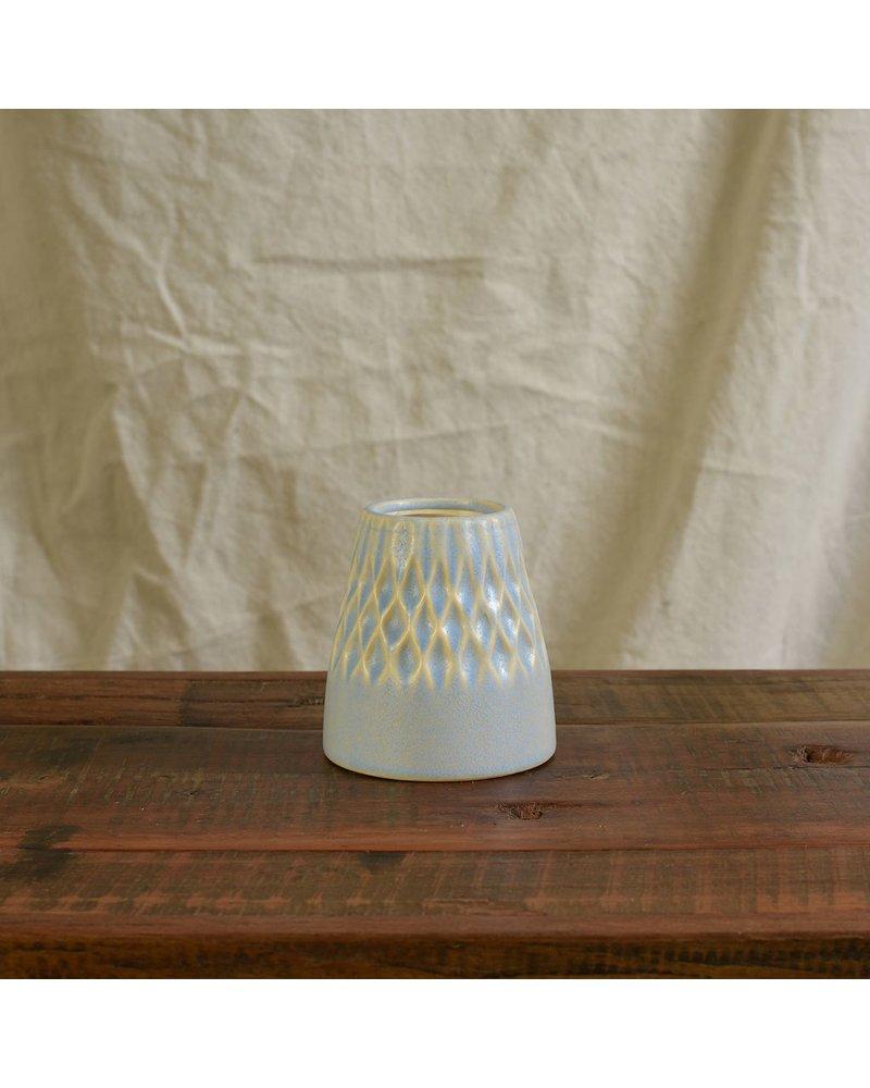 HomArt Matte Blue Margot Vase - Diamond - Set of 2