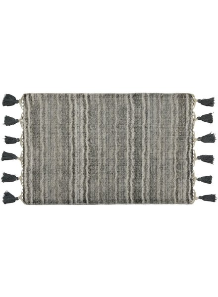 HomArt Venice Rug 2x3 - Natural / Black with Grey Tassels