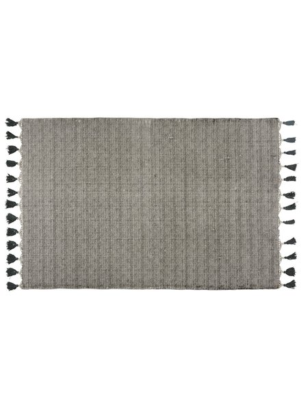 HomArt Venice Rug 4x6 - Natural / Black with Grey Tassels