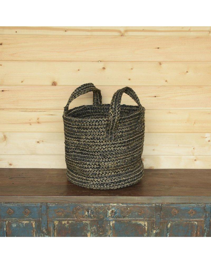 HomArt Santa Cruz Braided Hemp Basket - Washed Stone Blue