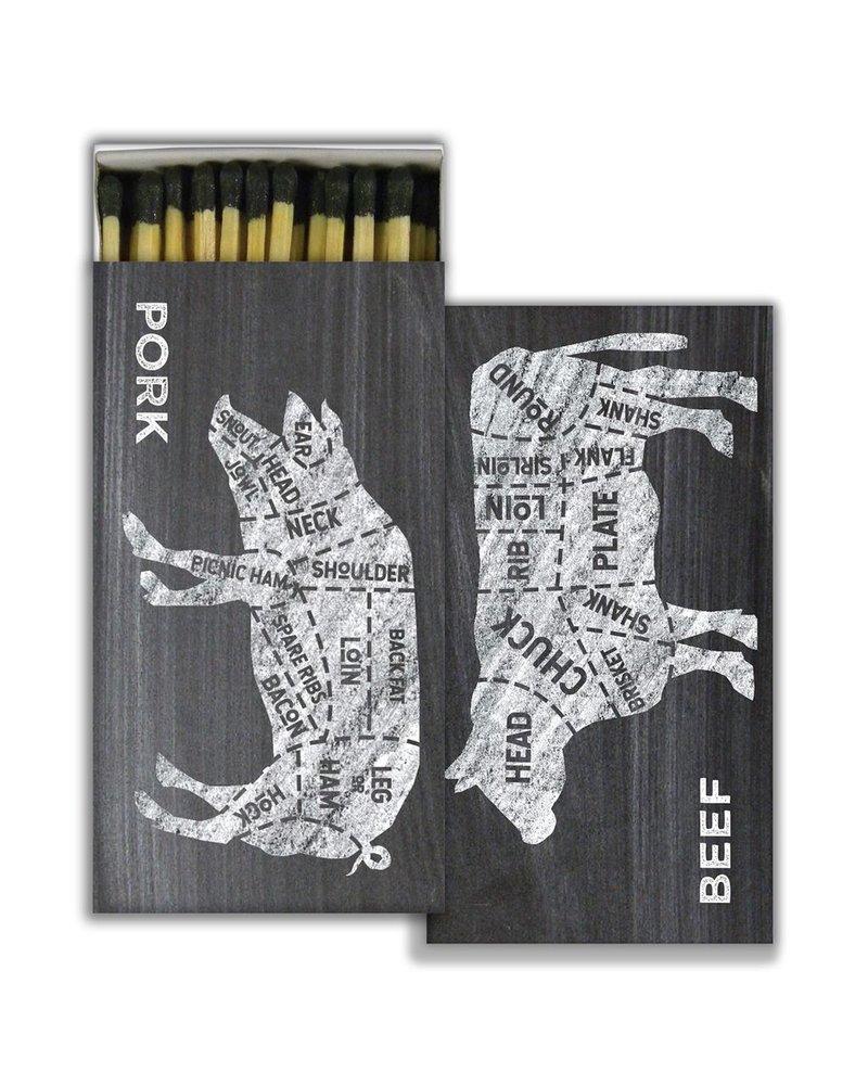 HomArt Matches - Cow, Pig, Butcher - Black - Set of 3