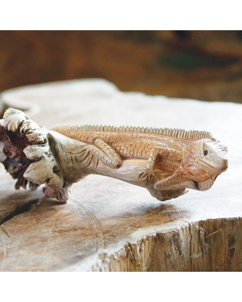 Garden Age Supply Hand Carved Wood Iguana