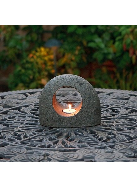 Garden Age Supply Natural Rock Tea Light Holder Small