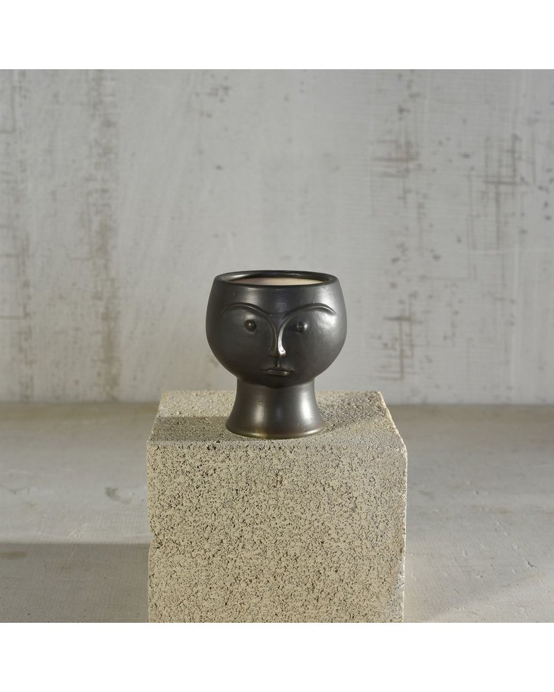 HomArt Rory Ceramic Face Vase - Matte Black