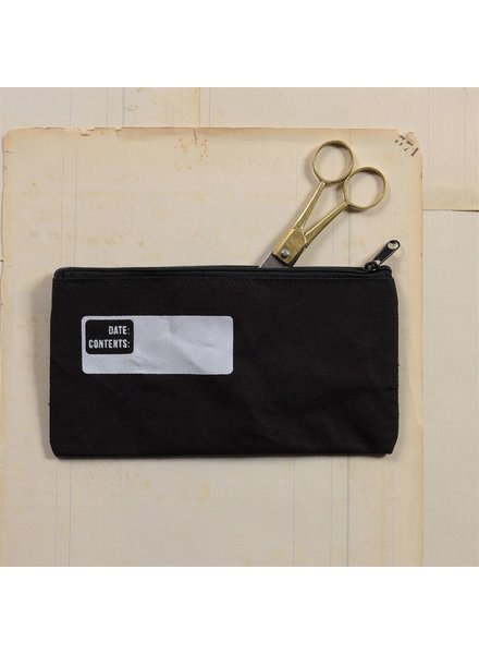 HomArt Black Canvas Pencil Zipper Bag with Logo - Set of 4
