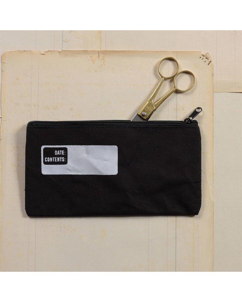 HomArt Black Canvas Pencil Zipper Bag with Logo - Set of 4