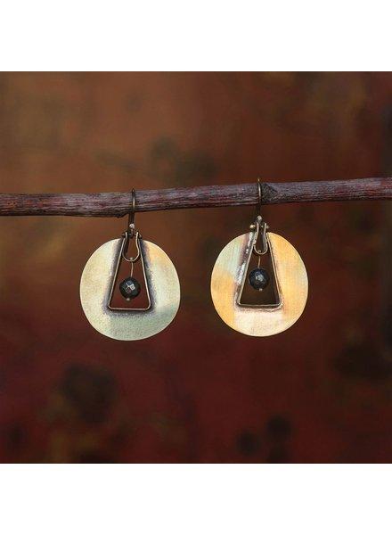 OraTen Unity Circle Brass Earrings - Pyrite