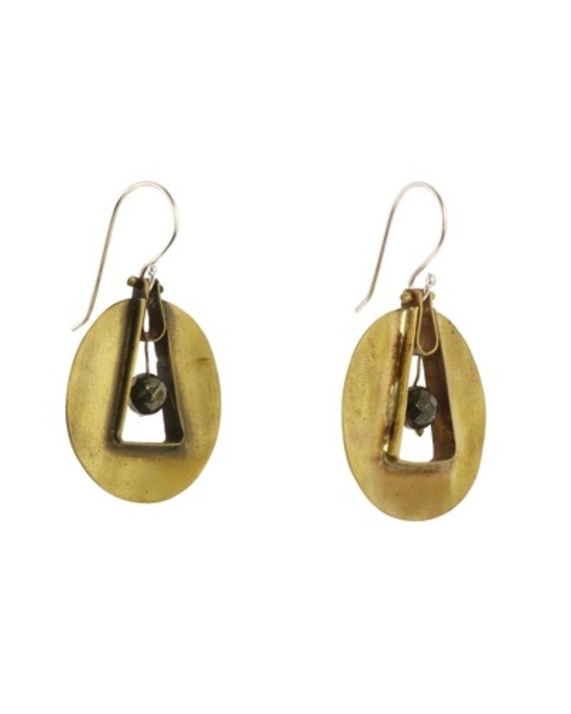 OraTen Unity Circle Brass Earrings-Pyrite