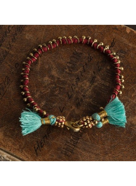 Vagabond Vintage Furnishings Bohemian Bracelet Red with Turquoise Tassels