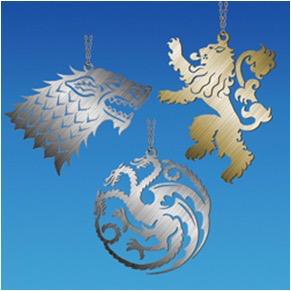 "Australia Game of Thrones - 4"" Metal Sigils Xmas Ornmnt ASST"