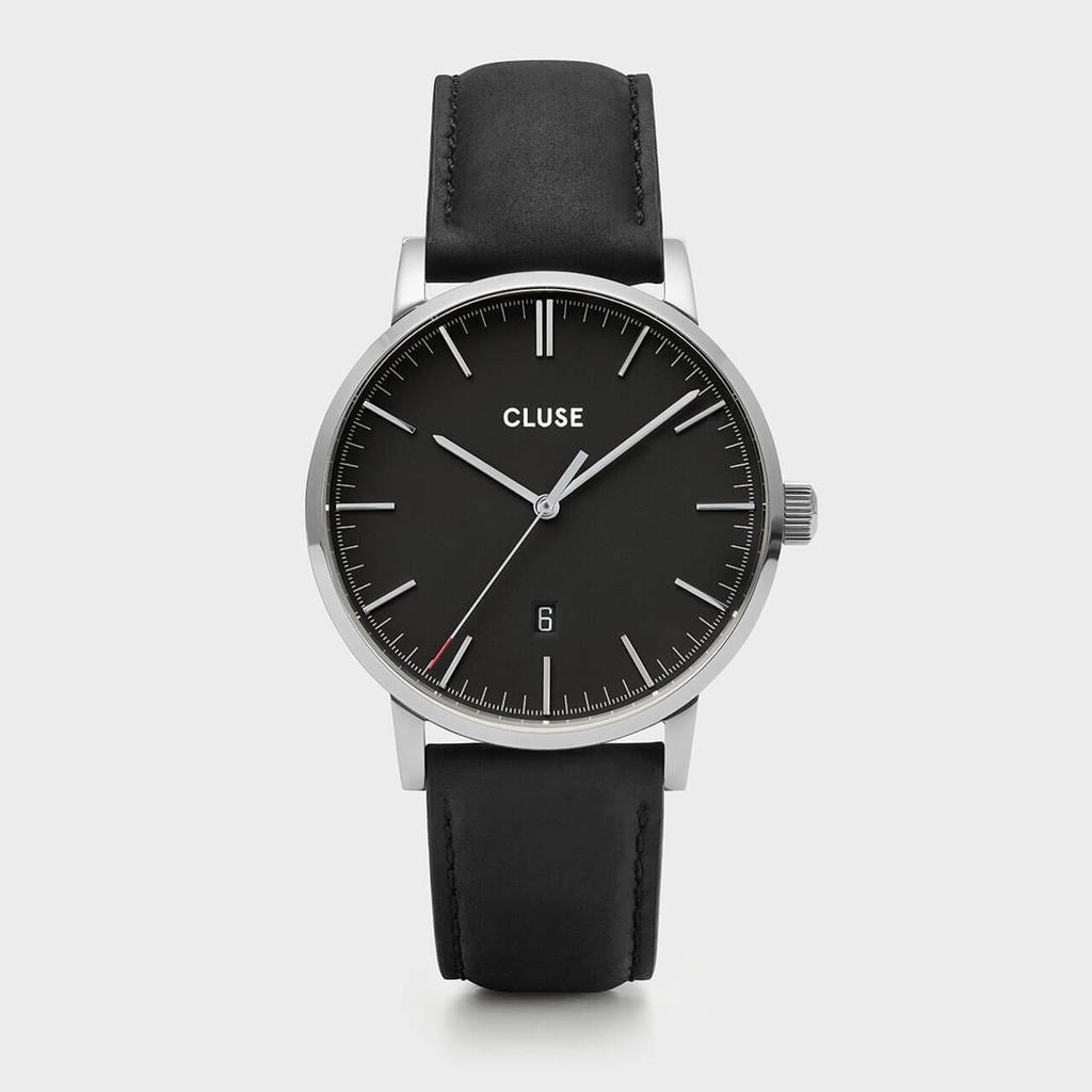 Australia CLUSE Aravis Chrono Leather Silver Black/Black