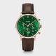 Australia CLUSE Aravis Chrono Leather Rose Gold Green/Dark Brown
