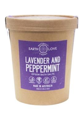 Australia EARTH LOVE 1 KG BATH SALTS -LAVENDERS PEPPERMINT EPSOM