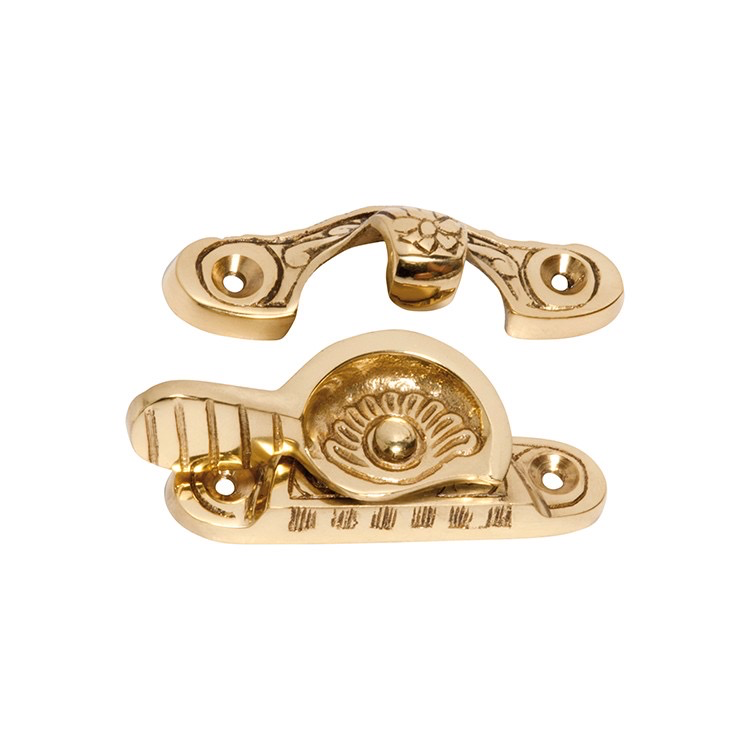 Australia Sash Fastener Ornate Polished Brass L70mmxW22mm