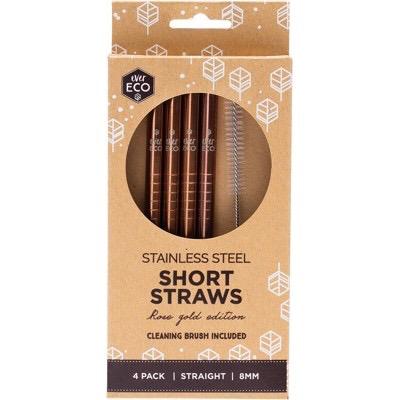 Australia EVER ECO rose gold short starws straight - 4 pack + brush