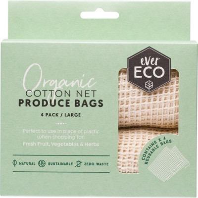 Australia EVER ECO Reusable Produce Bags Organic Cotton Net - 4 Pk