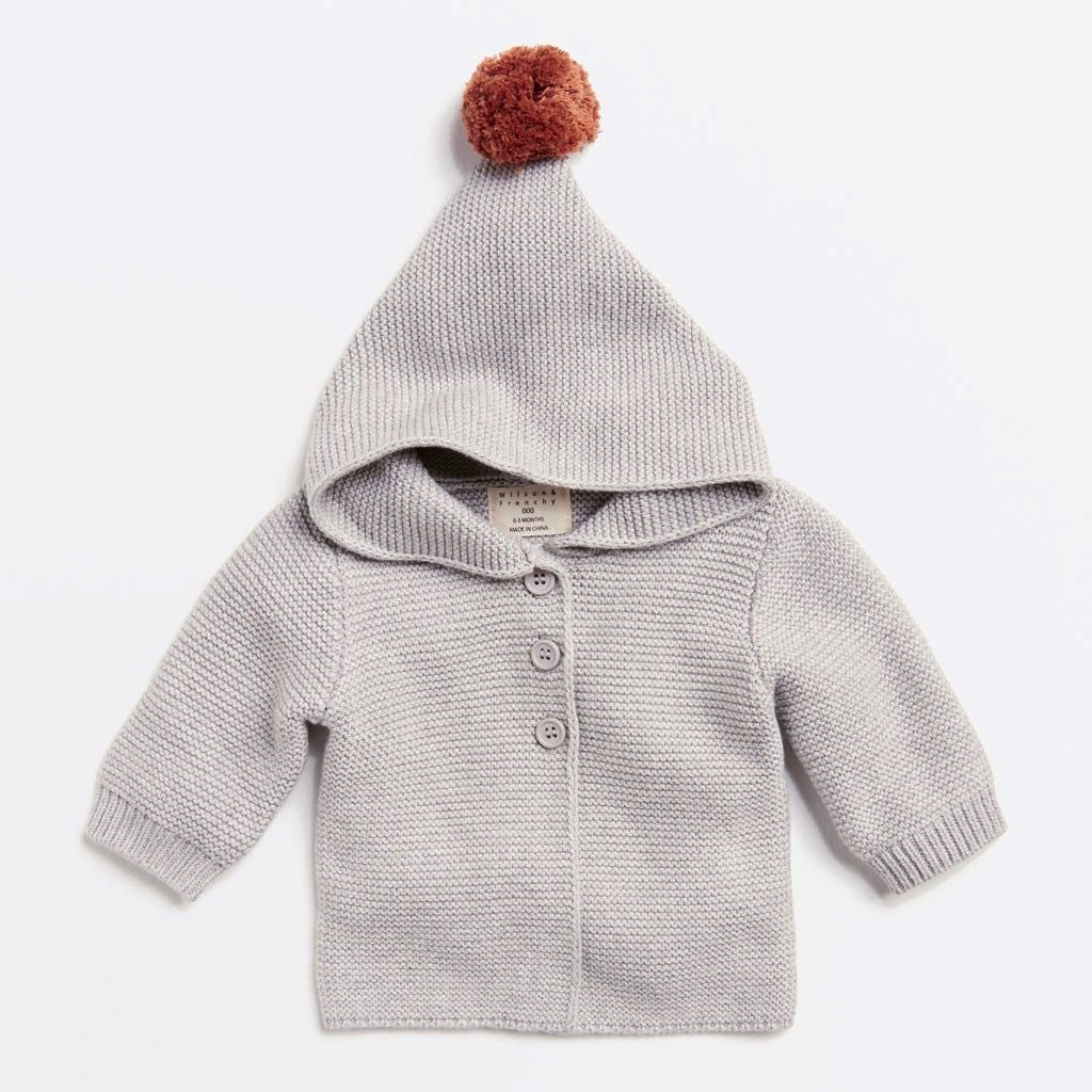 Australia Mouse grey knitted jacket with hood - 6-12 months