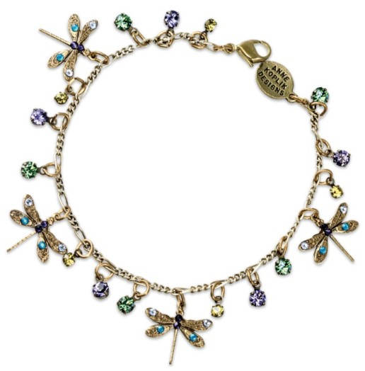 USA Brass Dragonfly Multicolor Charm Bracelet