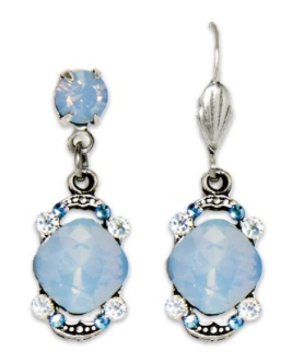 USA Silver Air Blue Cushion Cut Earrings with Bookends