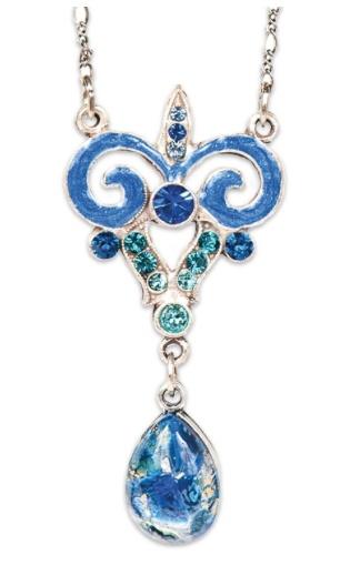 USA Silver & Blue Art Nouveau Necklace with Faux blue Opal