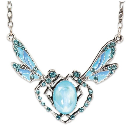 USA Silver Ornate Light Turquoise Dragonfly Necklace