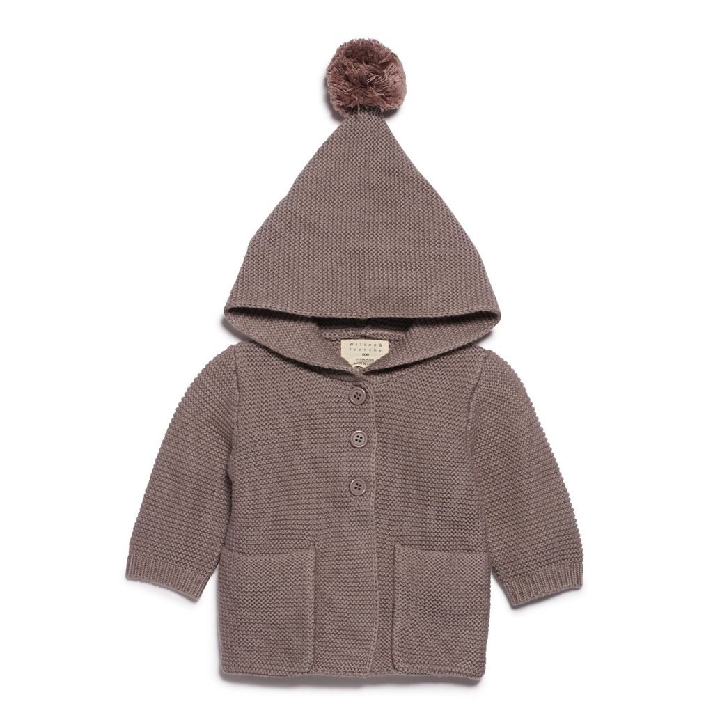 Australia SMOKE GREY KNITTED JACKET WITH HOOD - 6-12 months