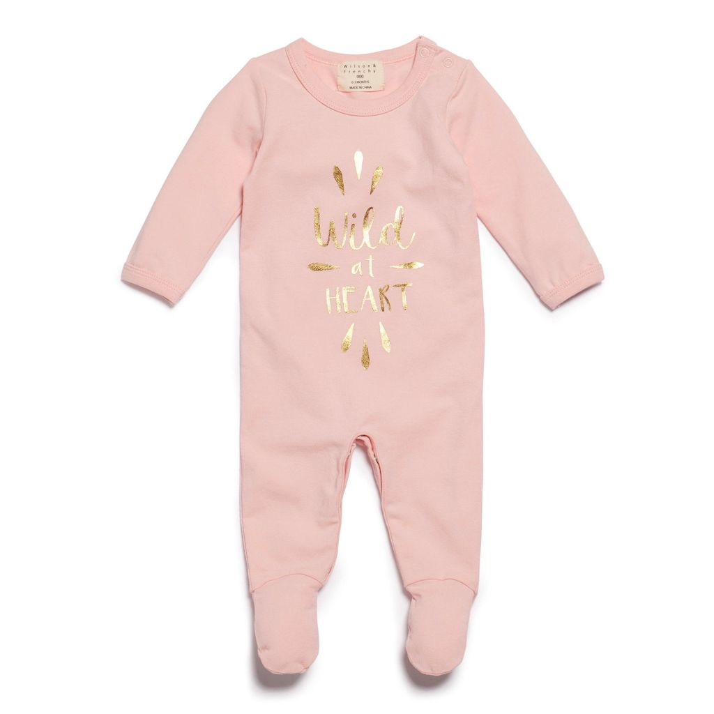 Australia WILD AT HEART GROWSUIT WITH FEET PINK - 3-6 months