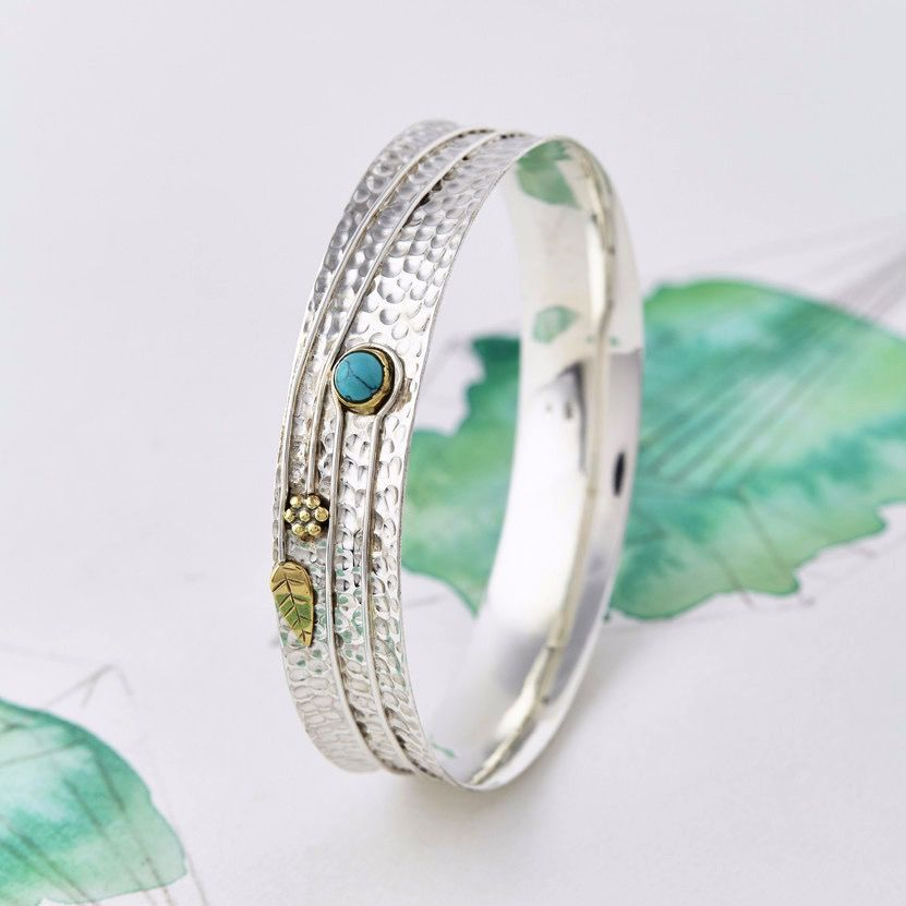 Europe Turquoise Silver Flower Bangle