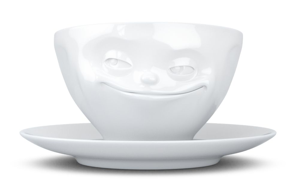 """Europe Coffee cup """"Grinning"""" white"""