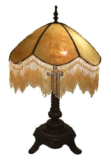 Australia 18in BEADED BEIGE LEADLIGHT LAMP