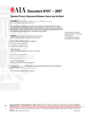 B101–2007 (formerly B151–1997), Standard Form of Agreement Between Owner and Architect