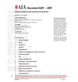 AIA Contract Documents A201–2007, General Conditions of the Contract for Construction