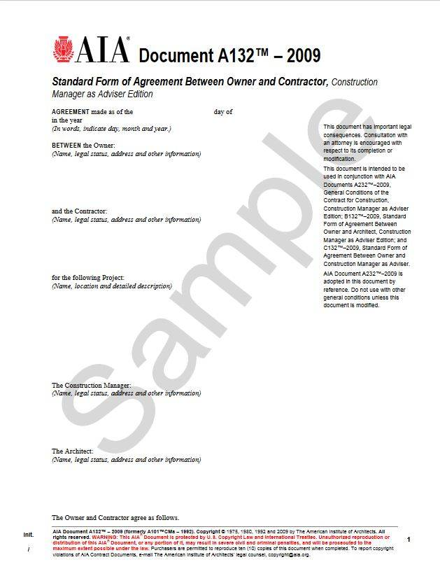 A132 2009 Standard Form Of Agreement Between Owner And Contractor