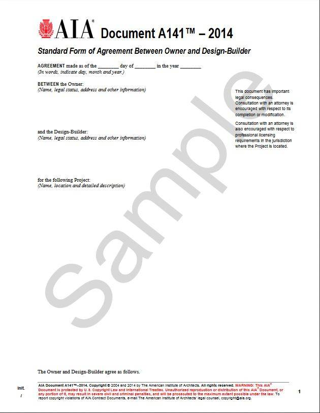 A141–2014, Standard Form of Agreement Between Owner and Design-Builder