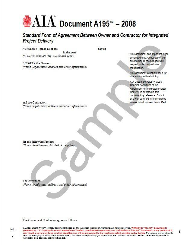 A195 2008 Standard Form Of Agreement Between Owner And Contractor