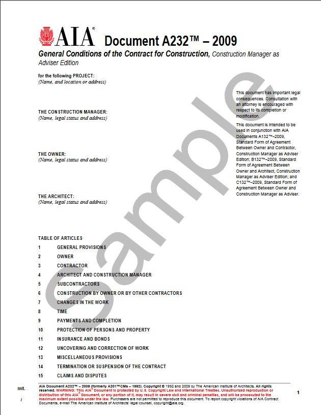 A232–2009 General Conditions of the Contract for Construction, Construction Manager as Adviser Edition