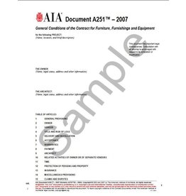 A251–2007 (formerly A275ID–2003), General Conditions of the Contract for Furniture, Furnishings and Equipment
