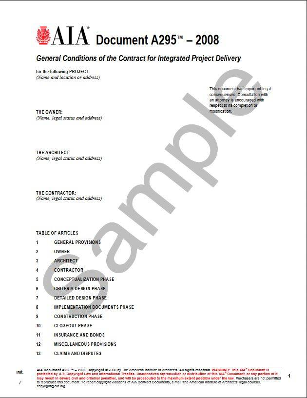 A295–2008, General Conditions of the Contract for Integrated Project Delivery