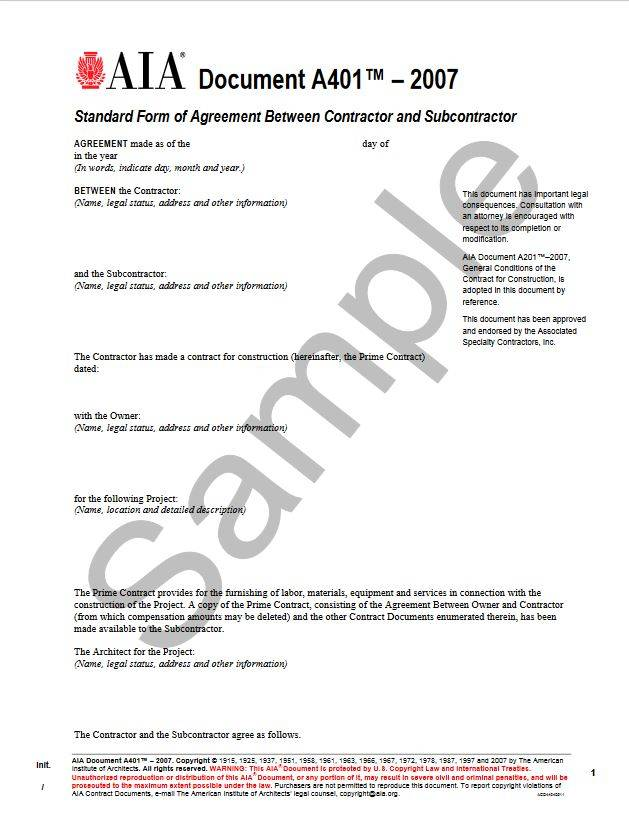 A4012007 Standard Form Of Agreement Between Contractor And