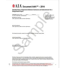 A441–2014, Standard Form of Agreement Between Contractor and Subcontractor for a Design-Build Project.