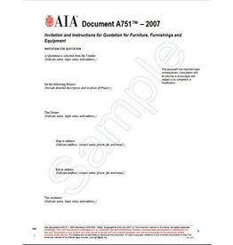 A751–2007 (formerly A775ID–2003), Invitation and Instructions for Quotation for Furniture, Furnishings and Equipment