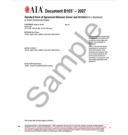 B105–2007 (formerly B155–1993), Standard Form of Agreement Between Owner and Architect for a Residential or Small Commercial Project