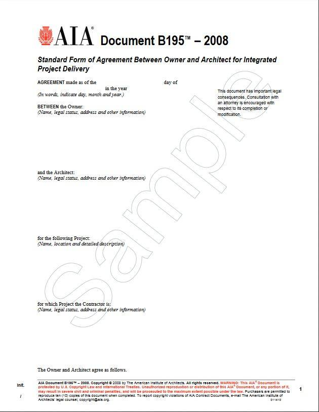 B195 2008 Standard Form Of Agreement Between Owner And Architect