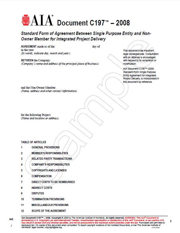C197-2008 Standard Form of Agreement:Single Purpose Ent/Non-owner IPD
