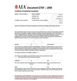 G704–2000, Certificate of Substantial Completion (Pack of 50)