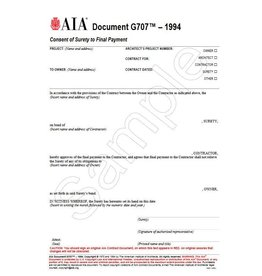 G707–1994, Consent of Surety to Final Payment