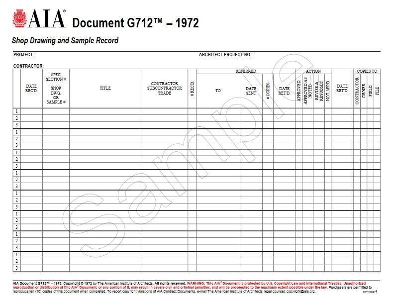 G712–1972, Shop Drawing and Sample Record (Pack of 50)