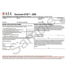 G736–2009 (formerly G722CMa–1992), Project Application and Project Certificate for Payment, Construction Manager as Adviser Edition
